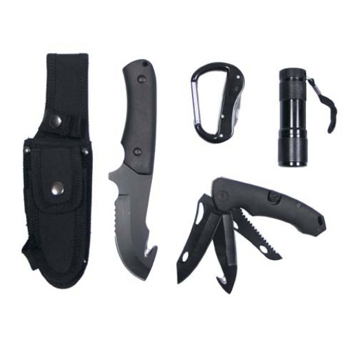 Coltello con set lame, torcia LED , NERO